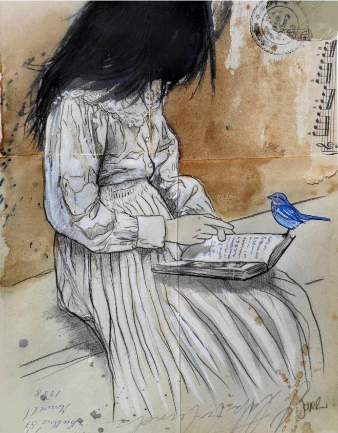 dessin fille livre